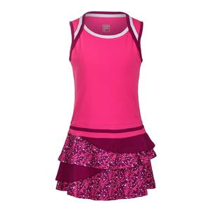 Girls` Abstract Court Tennis Dress Wild Strawberry and Print