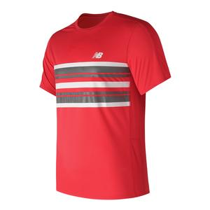 Men`s Accelerate Short Sleeve Graphic Tennis Top Energy Red