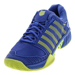 Men`s Hypercourt Express Tennis Shoes Strong Blue and Neon Citron
