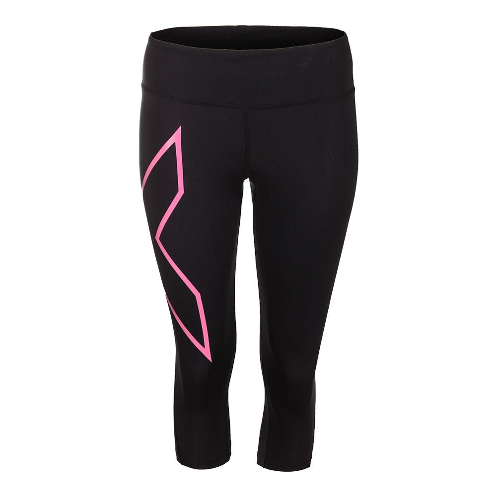 Women's Mid Rise Compression 3/4 Tight Black And Cerise Pink