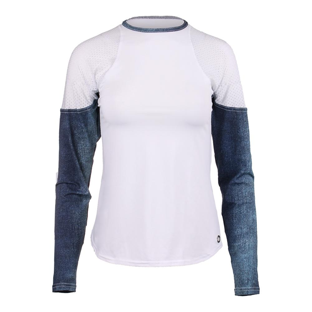 Women's Athleisure Long Sleeve Tennis Top Bluejean And White