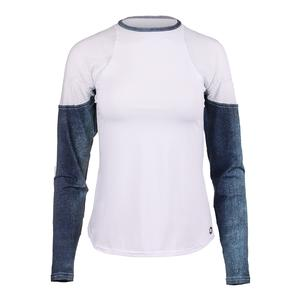 Women`s Athleisure Long Sleeve Tennis Top Bluejean and White