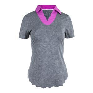Women`s Scallop Hem Short Sleeve Tennis Polo Graphite