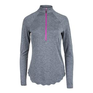 Women`s Scallop Long Sleeve Mock Tennis Top Graphite Heather