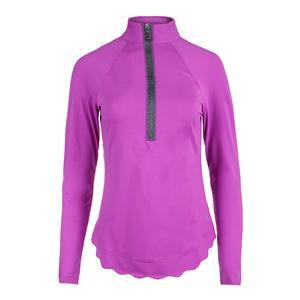 Women`s Scallop Long Sleeve Mock Tennis Top Lotus