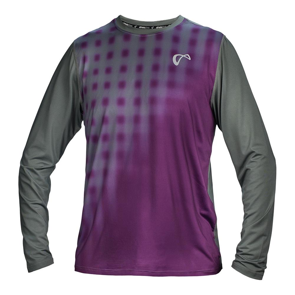 Men's Racquet Long Sleeve Tennis Top Eggplant And Smoked Pearl