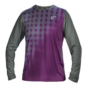 Men`s Racquet Long Sleeve Tennis Top Eggplant and Smoked Pearl