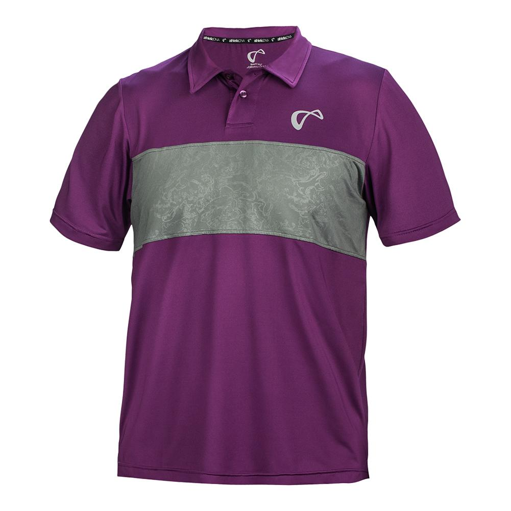 Men's Chest Panel Tennis Polo Eggplant And Smoked Pearl