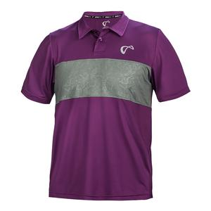 Men`s Chest Panel Tennis Polo Eggplant and Smoked Pearl