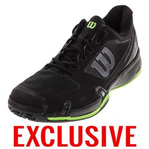 Men`s Rush Pro 2.5 Tennis Shoe Black and Blade Green