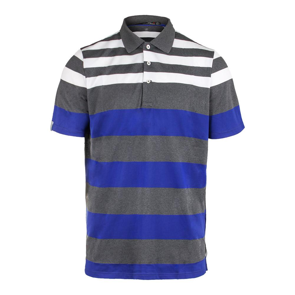 Men's Engineered Stripe Pique Polo Union Gray Heather And Speed Royal