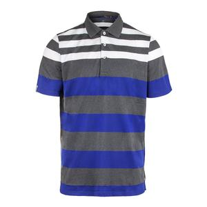 Men`s Engineered Stripe Pique Polo Union Gray Heather and Speed Royal