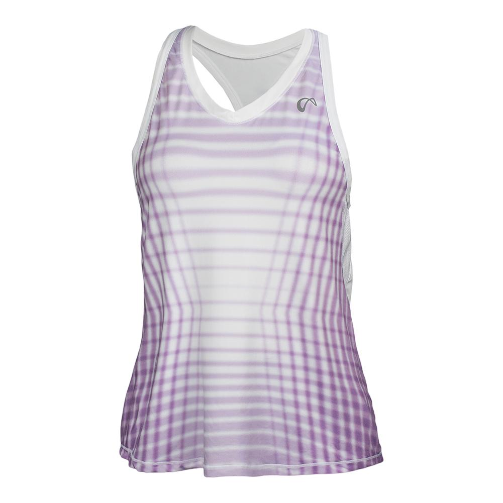 Women's Racquet Racerback Tennis Tank Lilac And White