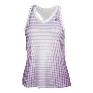 Women`s Racquet Racerback Tennis Tank Lilac and White