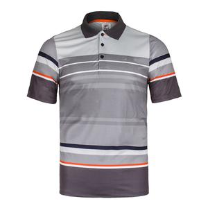 Men`s Court Deco Striped Tennis Polo Highrise and Nine Iron