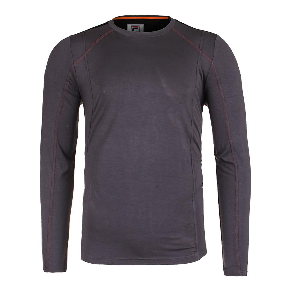 Men's Court Deco Long Sleeve Tennis Top Nine Iron And Black