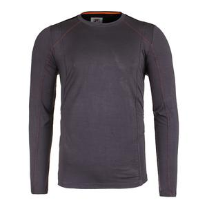 Men`s Court Deco Long Sleeve Tennis Top Nine Iron and Black