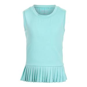 Girls` Peplum Pleated Tennis Tank Turquoise