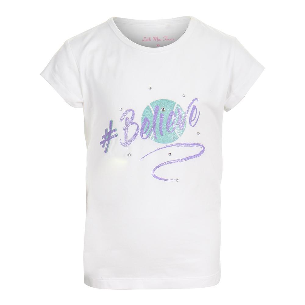 Girls ` Embellished Tennis Tee White