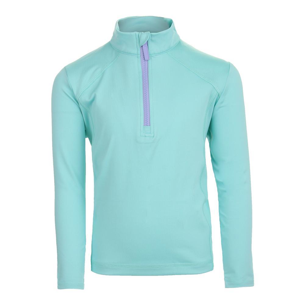 Girls ` Long Sleeve 1/2 Zip Tennis Pullover Turquoise