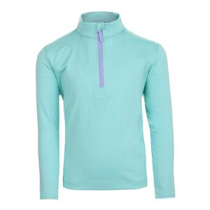 Girls` Long Sleeve 1/2 Zip Tennis Pullover Turquoise