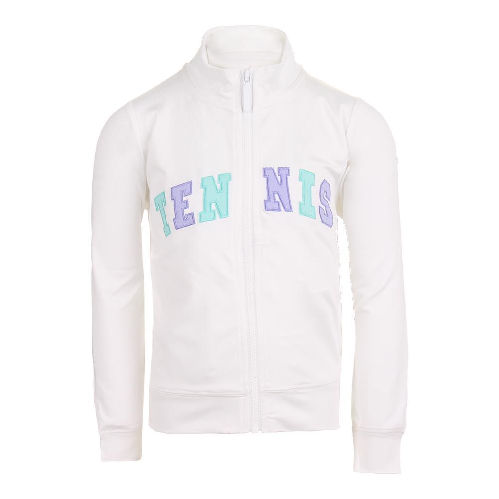 Girls ` Zip Front Tennis Jacket White