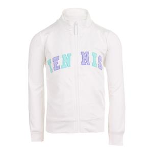 Girls` Zip Front Tennis Jacket White