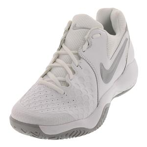 Women`s Air Zoom Resistance Tennis Shoes White and Metallic Silver
