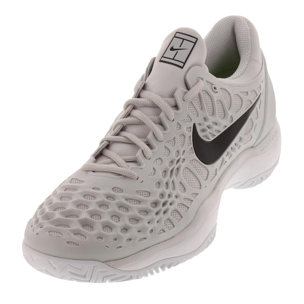 Men's Zoom Cage 3 Tennis Shoes Vast Gray And Black