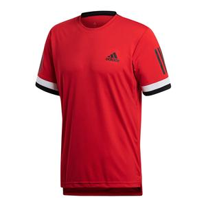 Men`s Club 3 Stripes Tennis Tee Scarlet