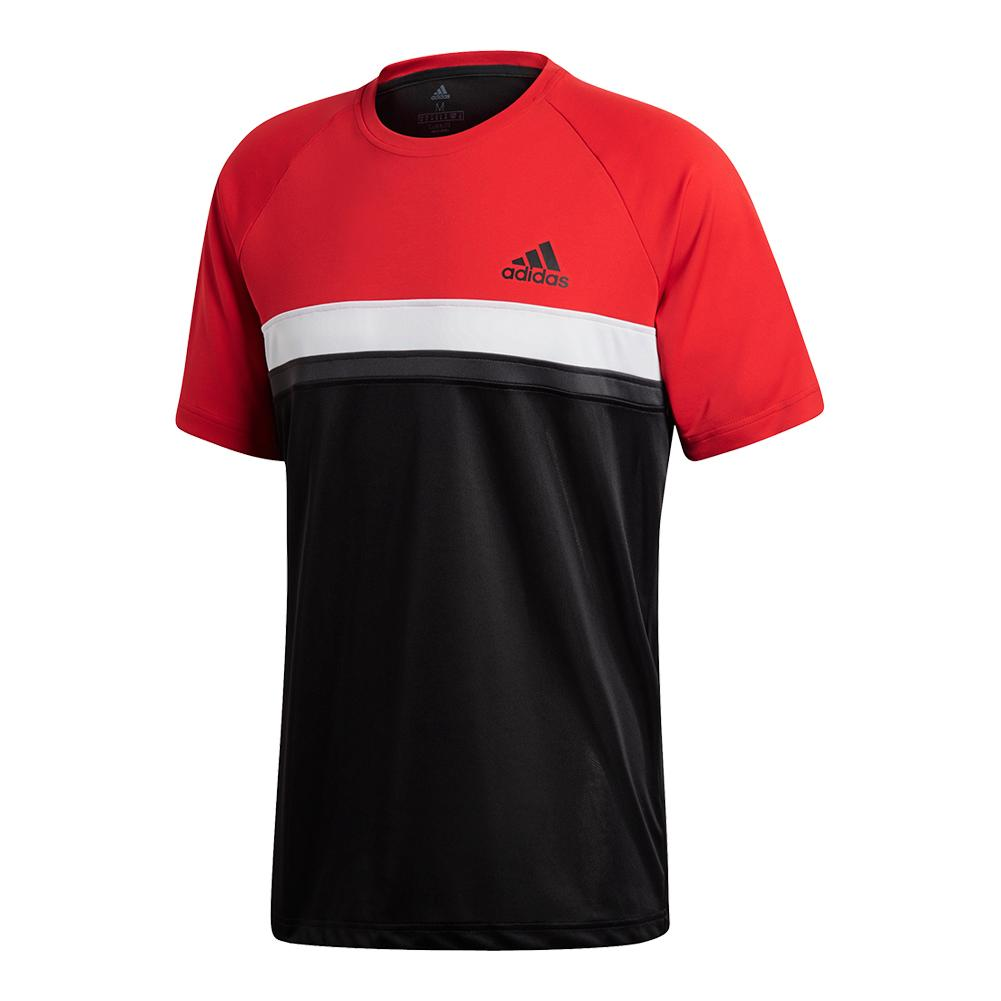 Men's Club Color Block Tennis Tee Scarlet