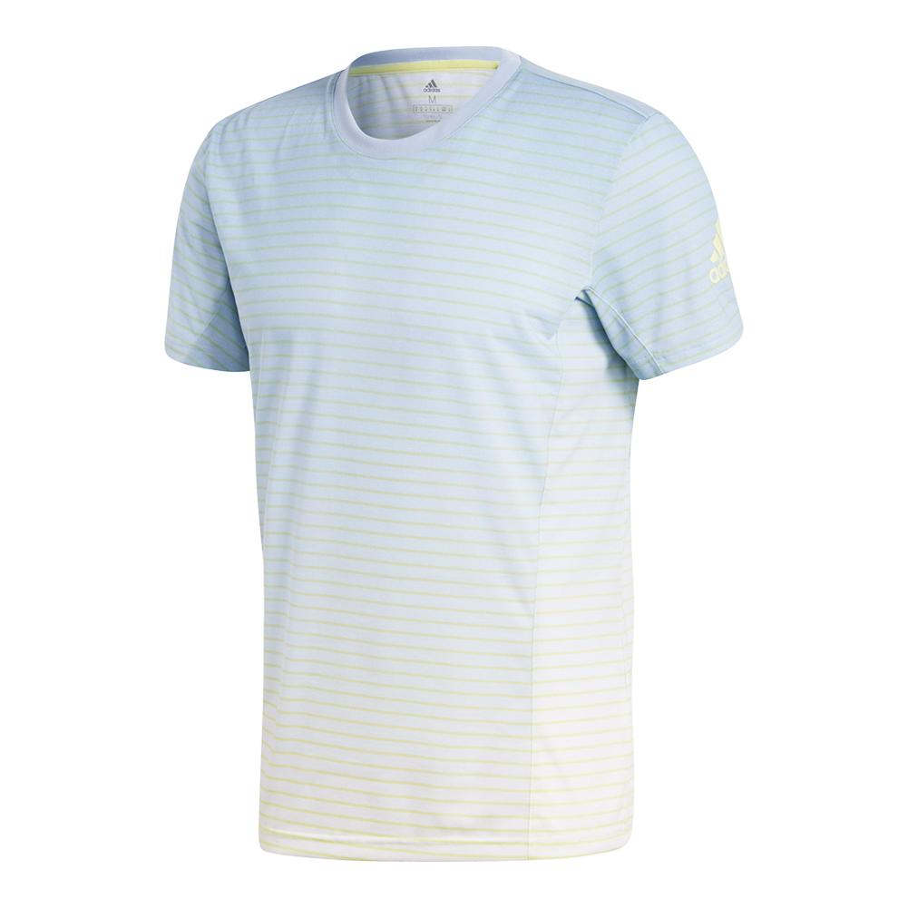 Men's Melbourne Striped Tennis Tee Ash Blue And White