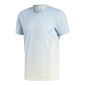 Men`s Melbourne Striped Tennis Tee Ash Blue and White