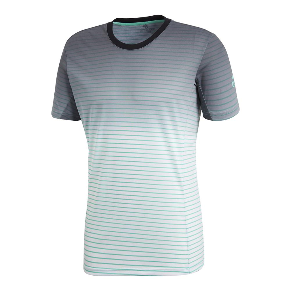 Men's Melbourne Striped Tennis Tee Hi- Res Green And White