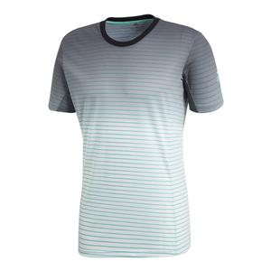 Men`s Melbourne Striped Tennis Tee Hi-Res Green and White