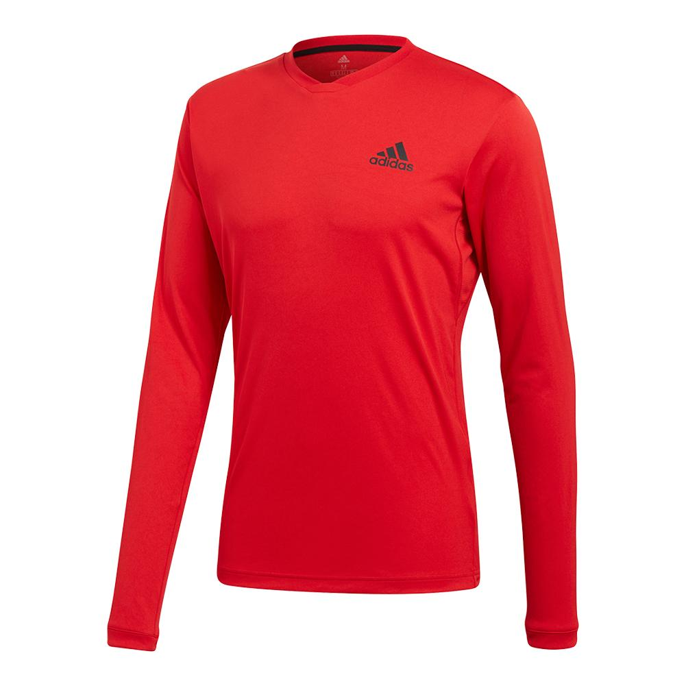 Men's Club Long Sleeve Uv Protection Tennis Tee Scarlet