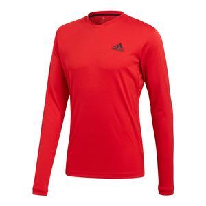 Men`s Club Long Sleeve UV Protection Tennis Tee Scarlet