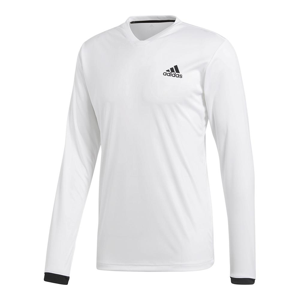 Men's Club Long Sleeve Uv Protection Tennis Tee White