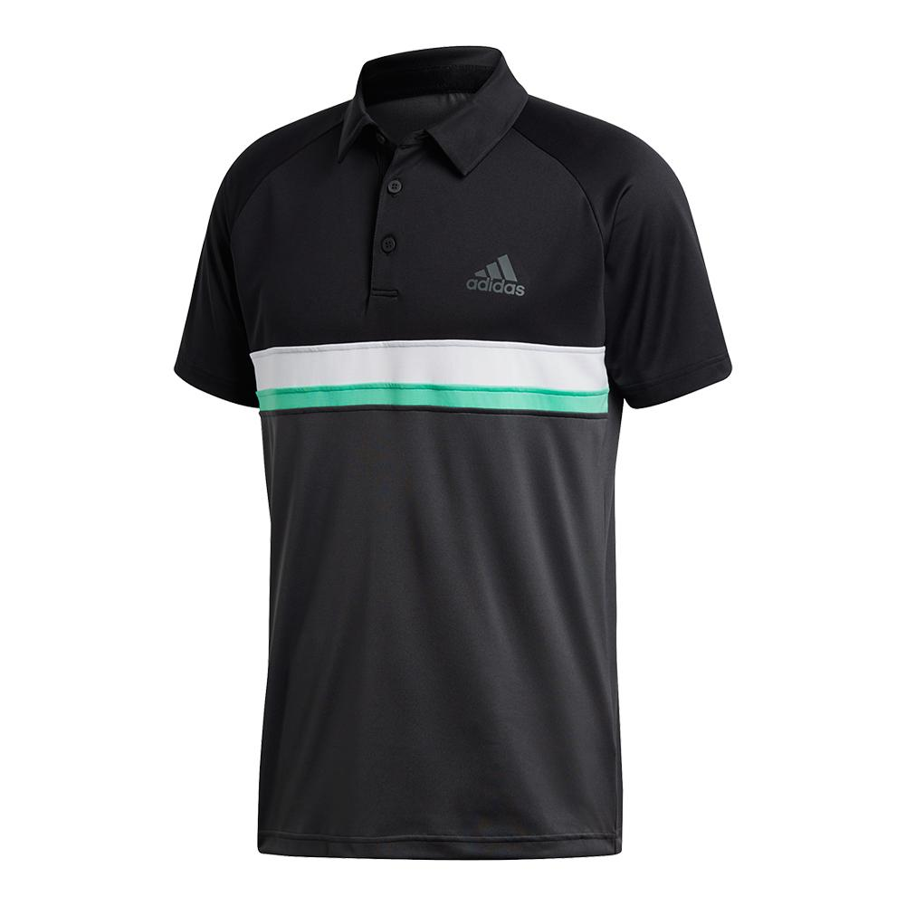 Men's Club Color Block Tennis Polo Black And Dgh Solid Gray
