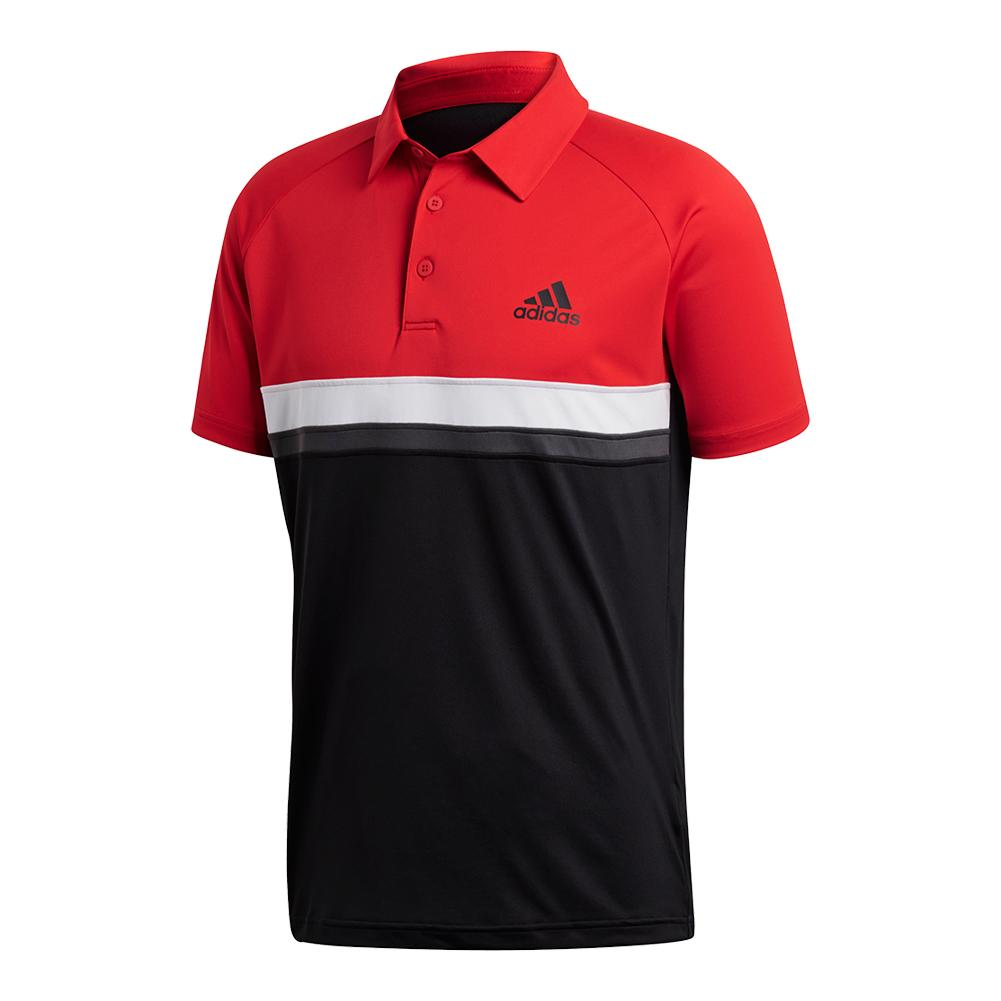 Men's Club Color Block Tennis Polo Scarlet