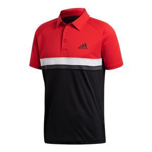 Men`s Club Color Block Tennis Polo Scarlet