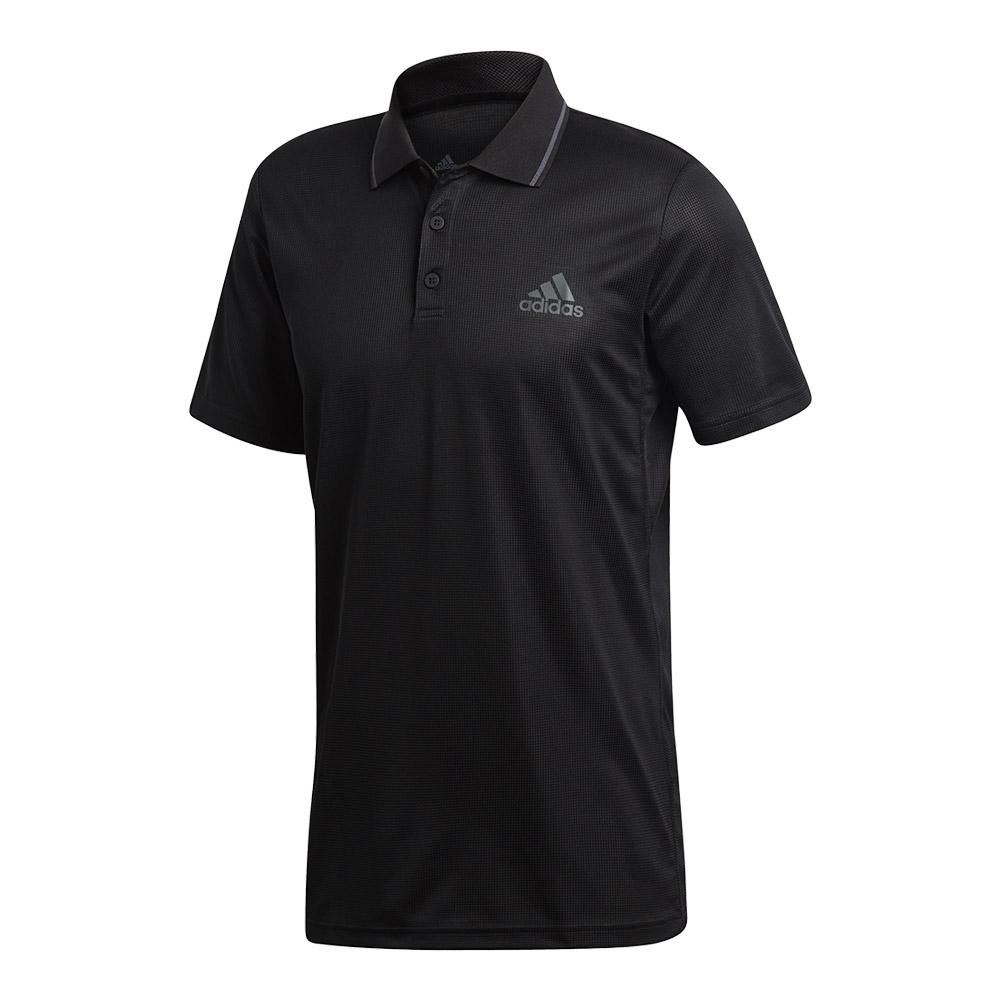 Men's Club Textured Tennis Polo Black