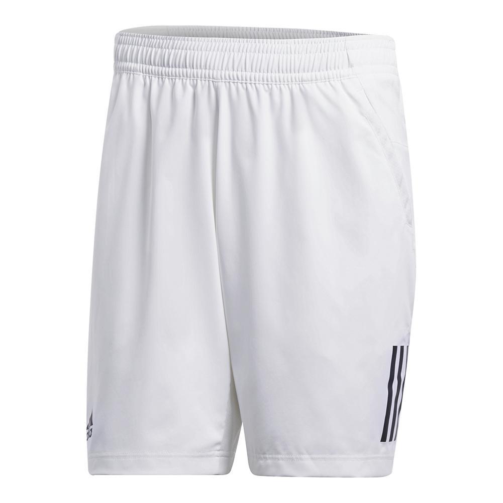 Men's Club 3 Stripes Tennis Short White And Black