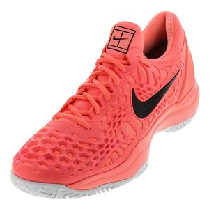 Men`s Zoom Cage 3 Tennis Shoes Lava Glow and Black
