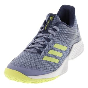 Women`s Adizero Club Tennis Shoes Chalk Blue and Semi Frozen Yellow