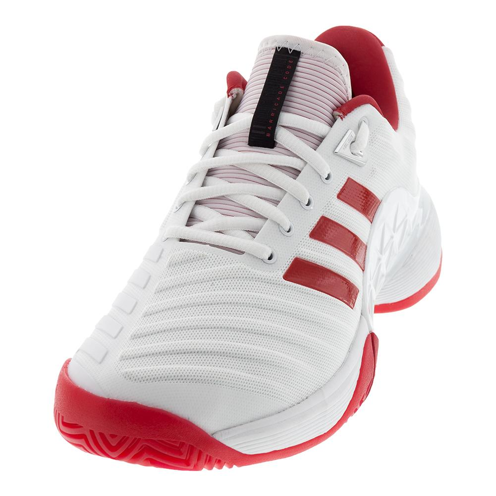 1b8e7cfc73aa8e adidas Women s Barricade 2018 Tennis Shoes in White and Scarlet