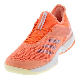 Women`s Adizero Ubersonic 3.0 Tennis Shoes Chalk Coral and Hi-Res Orange