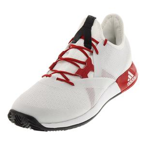 Women`s Adizero Defiant Bounce Tennis Shoes White and Scarlet