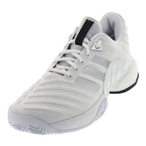 Men`s Barricade 2018 Boost Tennis Shoes White and Matte Silver