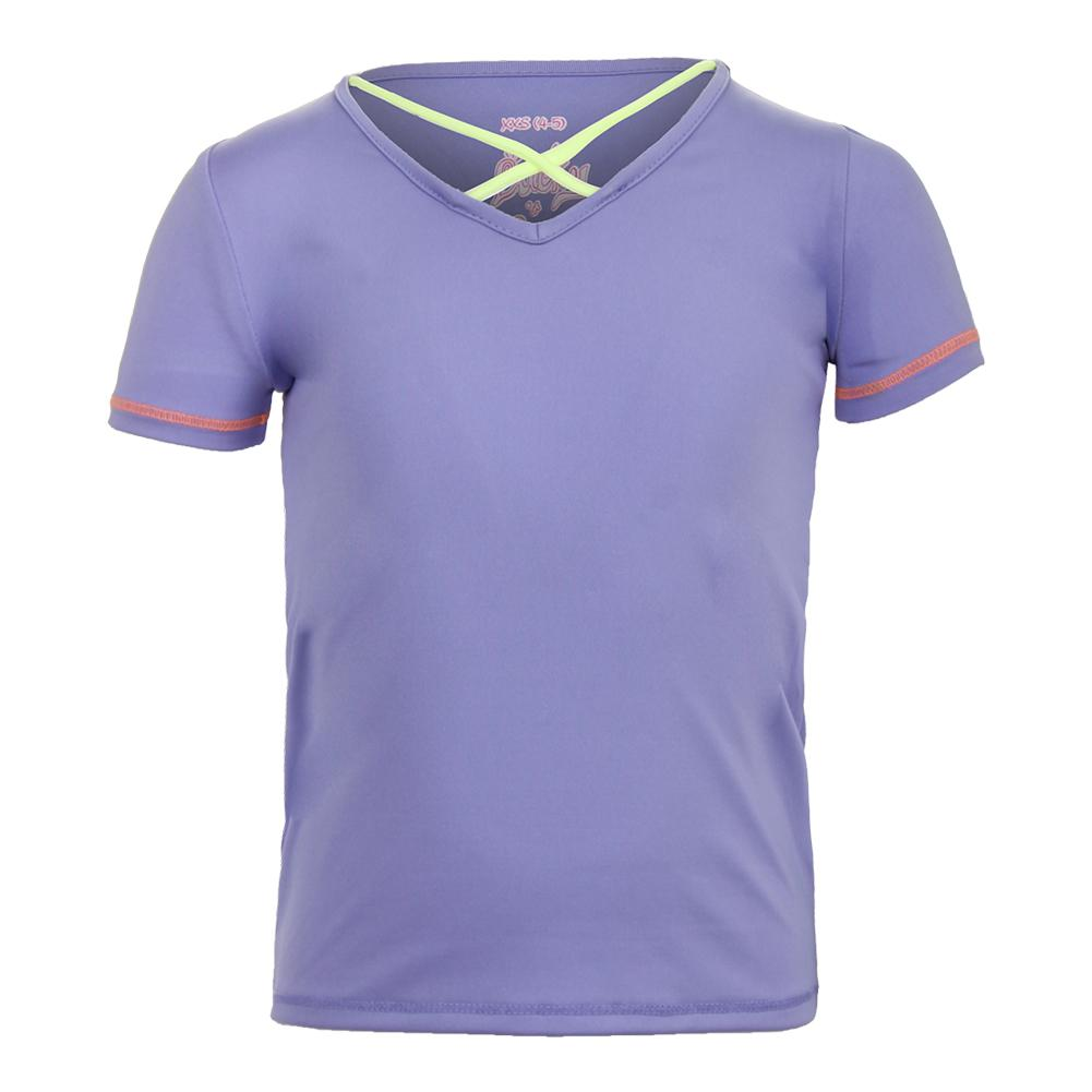Girls ` Criss Cross Cap Sleeve Tennis Top Lilac